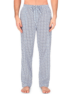 DEREK ROSE Tile-print cotton lounge trousers