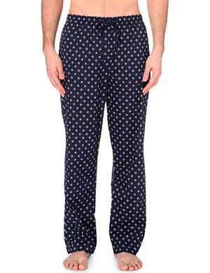 DEREK ROSE Diamond-print cotton lounge trousers