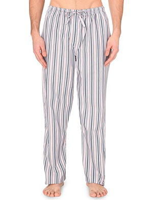 DEREK ROSE Striped cotton lounge trousers