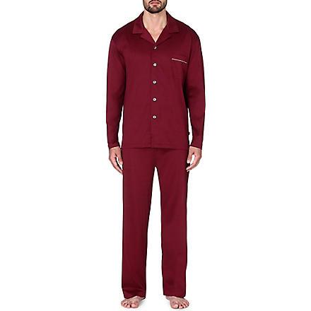 DEREK ROSE Bari cotton jersey pyjama set (Wine
