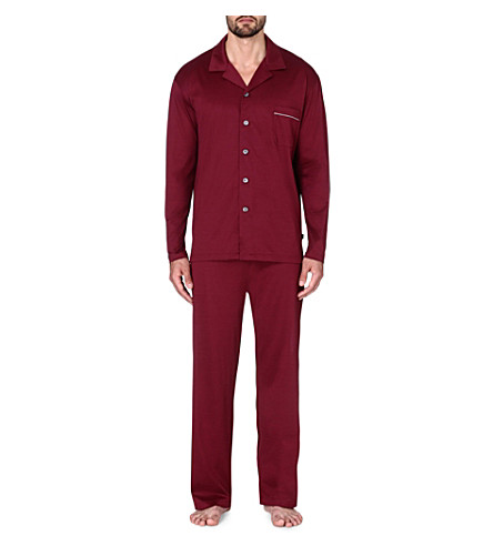 DEREK ROSE Bari cotton jersey pyjama set (Wine