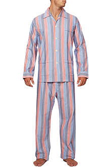 DEREK ROSE Artic striped brushed cotton pyjamas