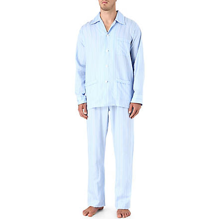 DEREK ROSE Satin stripe pyjamas (Blue