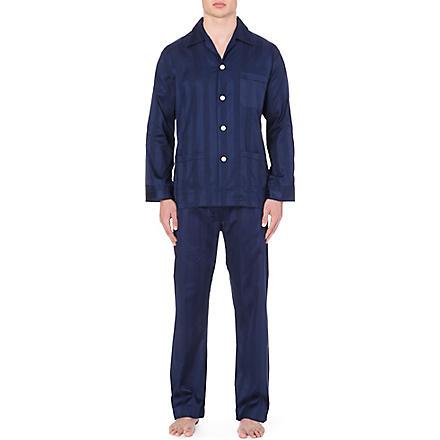 DEREK ROSE Tonal striped pyjama set (Navy