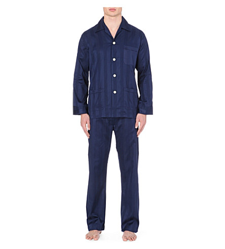 DEREK ROSE Tonal striped pyjama set (Navy