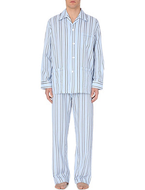 DEREK ROSE Varied stripe cotton pjyama set