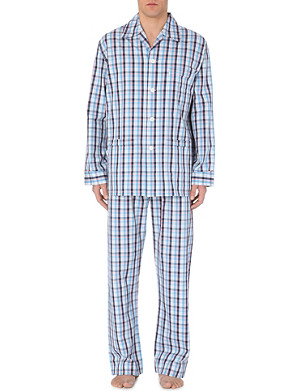 DEREK ROSE Plaid cotton pjyama set