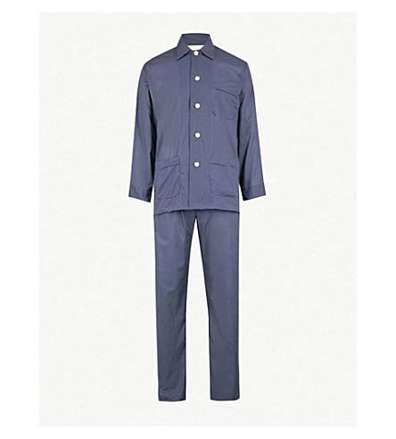 DEREK ROSE Plaza cotton pyjama set (Navy/white