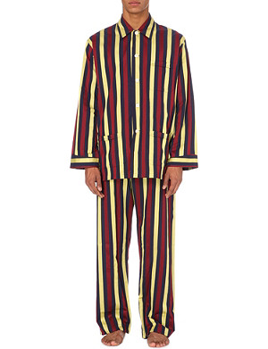 DEREK ROSE Regimental satin stripe pyjama set