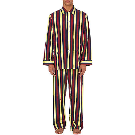 DEREK ROSE Regimental satin stripe pyjama set (Multi