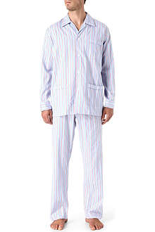 DEREK ROSE Royal multi satin stripe pyjamas
