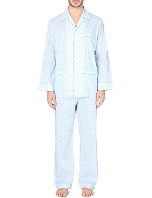 DEREK ROSE Arlo fleur-de-lis cotton pyjama set