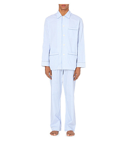 DEREK ROSE Bengal Stripe pyjama set (Blue/white