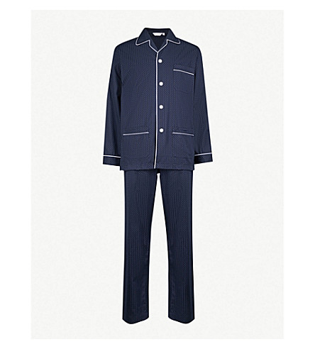 DEREK ROSE Cotton pyjama set (Navy