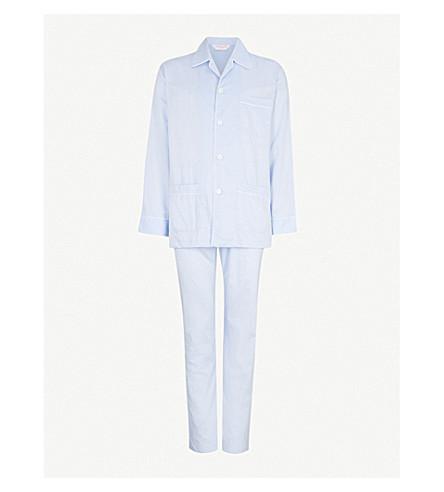 DEREK ROSE Piped cotton pyjama set (Blue