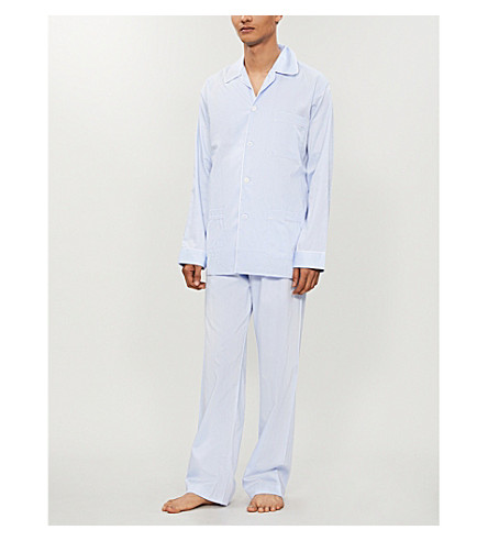 DEREK ROSE Piped cotton pyjama set (Blue