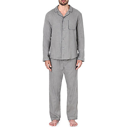 DEREK ROSE Ezra houndstooth pyjama set (Navy