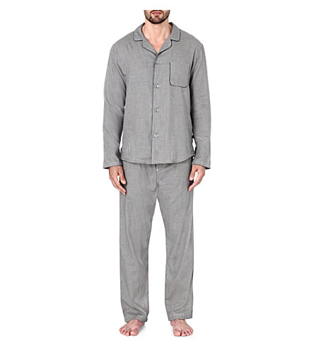 DEREK ROSE Ezra houndstooth pyjama set (Navy