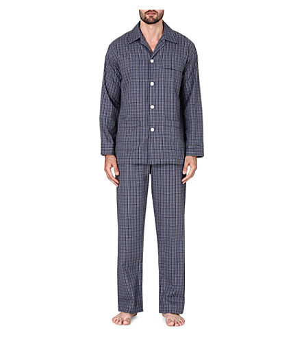 DEREK ROSE Ezra checked cotton pyjama set (Charcoal