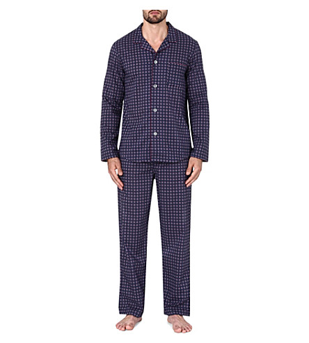 DEREK ROSE Nelson printed cotton pyjama set (Navy