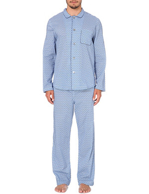 DEREK ROSE Diamond-print cotton pyjama set