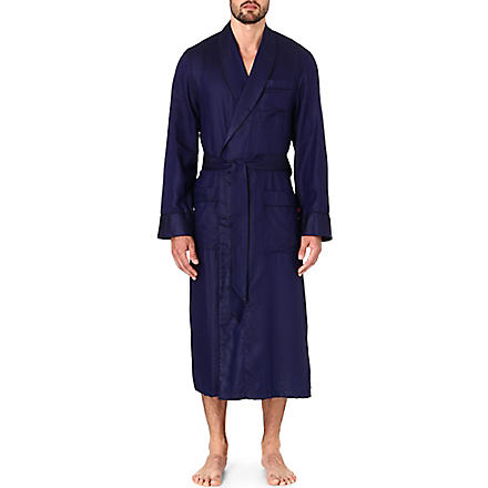 DEREK ROSE Lombard cotton dressing gown (Navy
