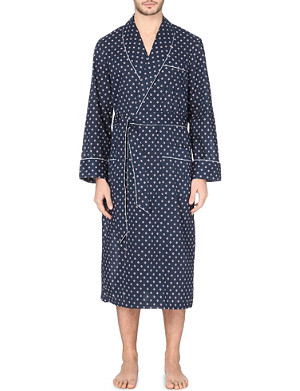 DEREK ROSE Nelson diamond-dot cotton dressing gown