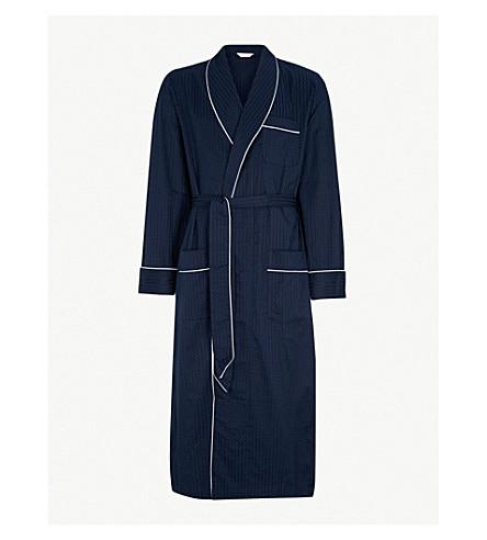 DEREK ROSE Dot-print cotton dressing gown (Navy