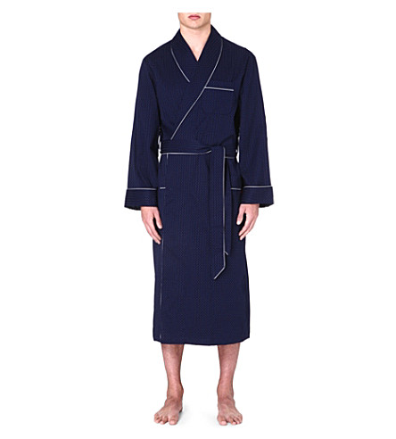 DEREK ROSE Dot-print cotton dressing gown (Navy