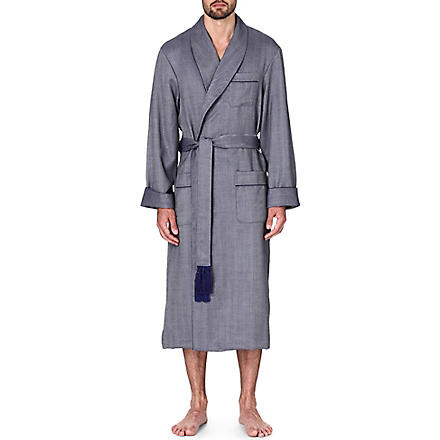 DEREK ROSE Lincoln wool dressing gown (Navy