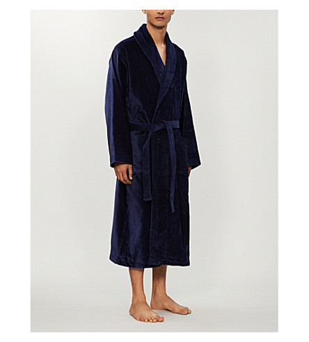 DEREK ROSE Tritan cotton dressing gown (Navy