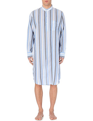 DEREK ROSE Striped batiste nightshirt
