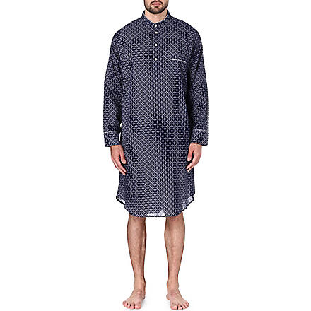 DEREK ROSE Arlo printed cotton nightshirt (Navy