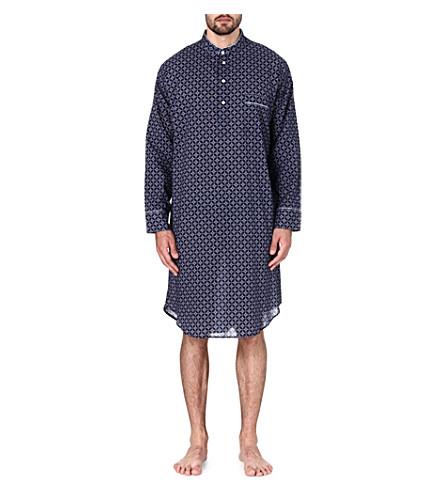 DEREK ROSE Arlo printed cotton nightshirt (Navy