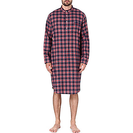 DEREK ROSE Ranga check cotton nightshirt (Red
