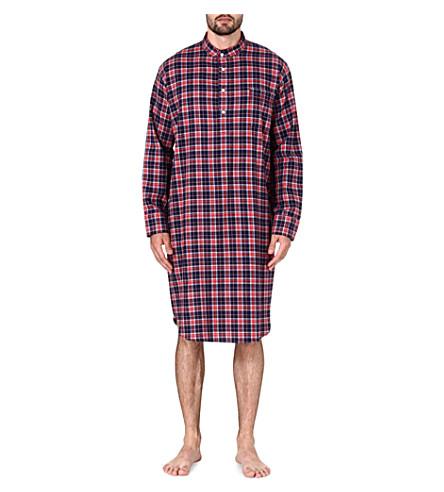 DEREK ROSE Ranga check cotton nightshirt (Red