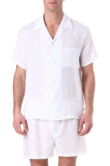 DEREK ROSE Short linen logo pyjamas