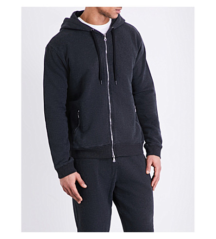 DEREK ROSE Devon cotton-jersey hoody (Charcoal
