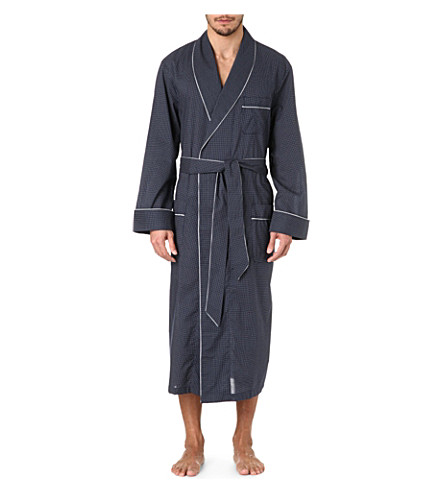 DEREK ROSE Plaza 21 Col B spot dressing gown (Nywh:+navy/whte