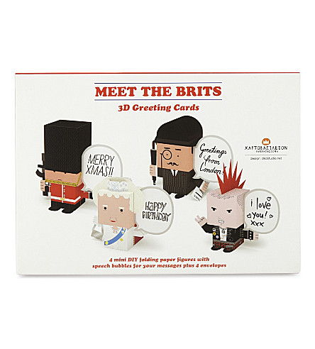 Meet the Brits 3D greeting cards set of 4
