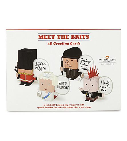 KONTOROUSIS BROS Meet the Brits 3D greeting cards set of 4