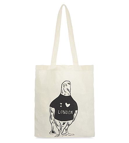 BEACH LONDON Babak Ganjei pigeon cotton tote