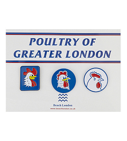 BEACH LONDON Poultry of Greater London pin badge pack of three