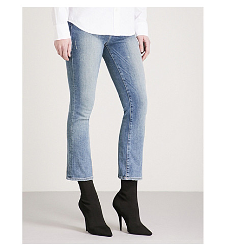 GOOD AMERICAN Good Boot Crop flared mid-rise jeans (Blue012