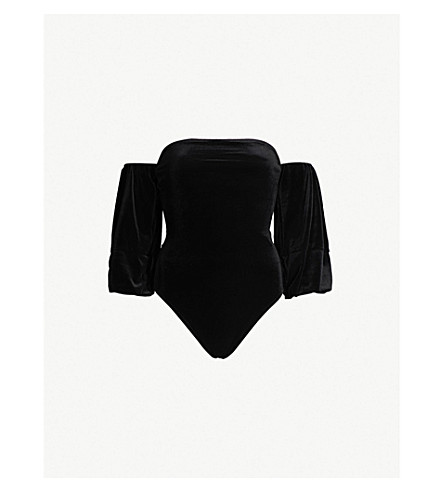 GOOD AMERICAN Off-the-shoulder velvet body (Black001
