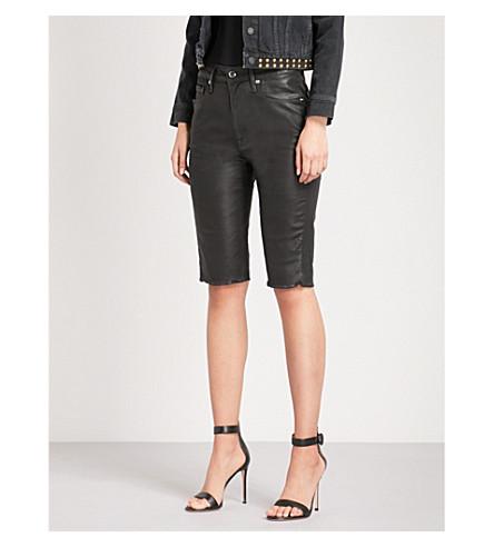 GOOD AMERICAN The Waxed Bermuda coated stretch-denim shorts (Black