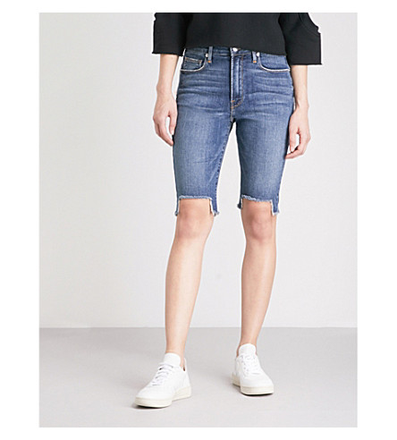 GOOD AMERICAN The Stagger slim-fit high-rise denim Bermuda shorts (Blue148