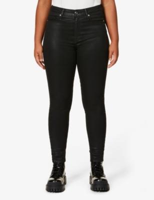 Good Legs Waxed coated skinny high-rise jeans