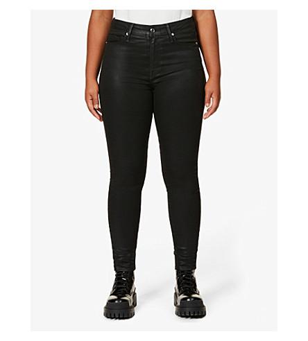 GOOD AMERICAN Good Legs Waxed coated skinny high-rise jeans (Black