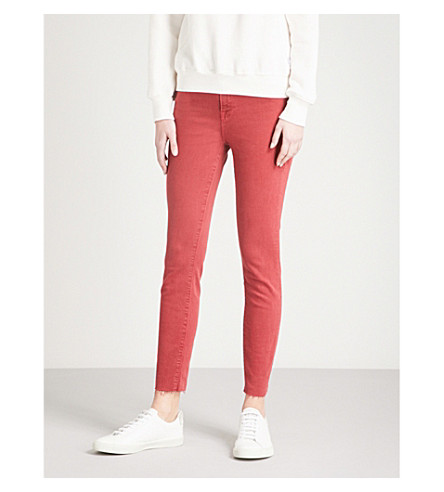 GOOD AMERICAN Good Legs frayed-hem skinny cropped high-rise jeans (Red